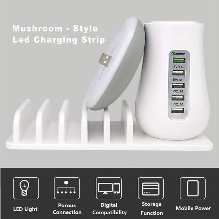 Multi Charging Dock Station With Mushroom Lamp