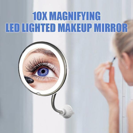 Flexible10x Magnifying LED Lighted Makeup Mirror