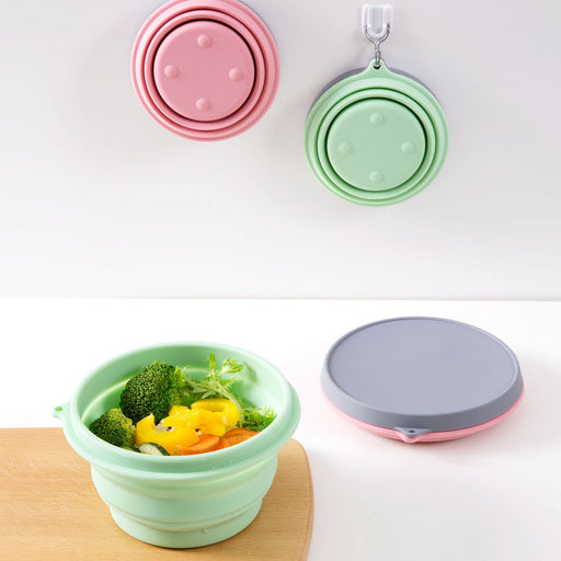 Travel Portable Silicone Folding Bowl With Lid