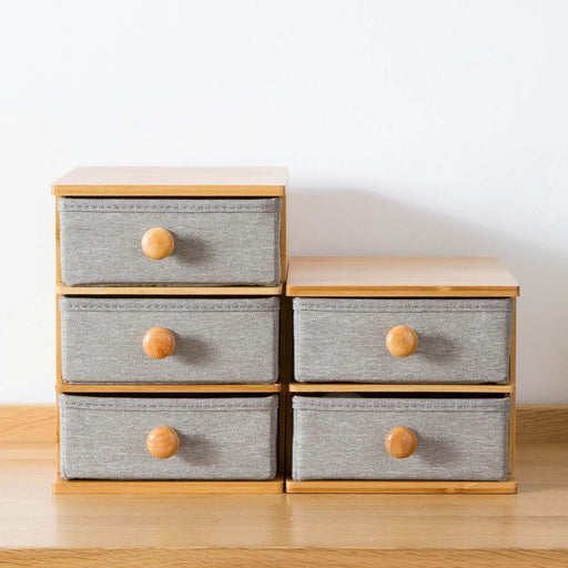 Drawer Type Wooden Oxford Cloth Cosmetic Storage Box