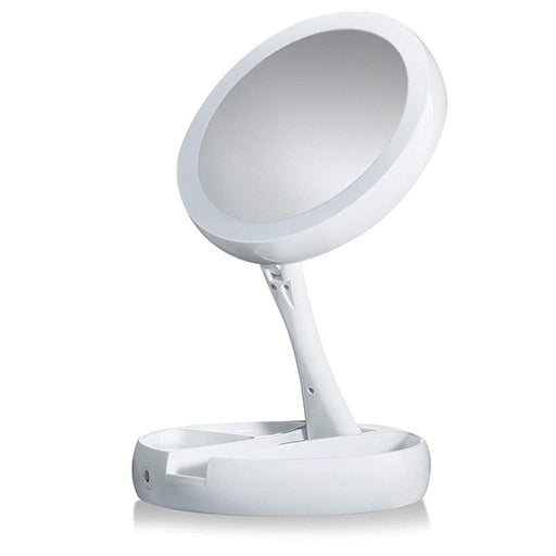 Folding Double-Sided Makeup Mirror with LED Light