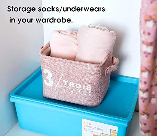 4 pcs Decorative Square Storage Basket Cube with Cotton Liner