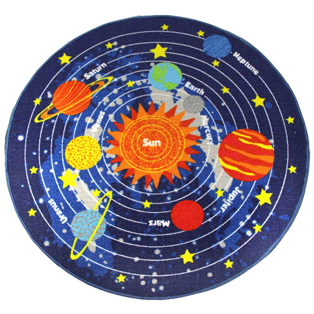 Kids Round Solar System Learning Area Rug