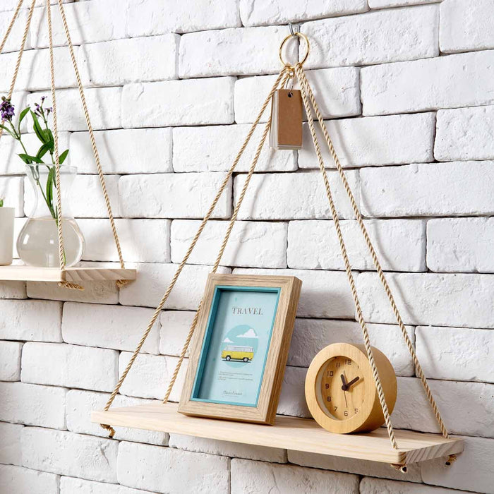 Adjustable Wooden Bracket Wall Shelf