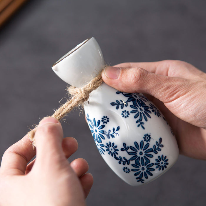 White Porcelain Blossom Sake Bottle
