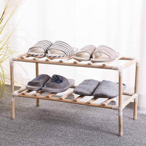 Assembly Natural Wood Shoe Rack