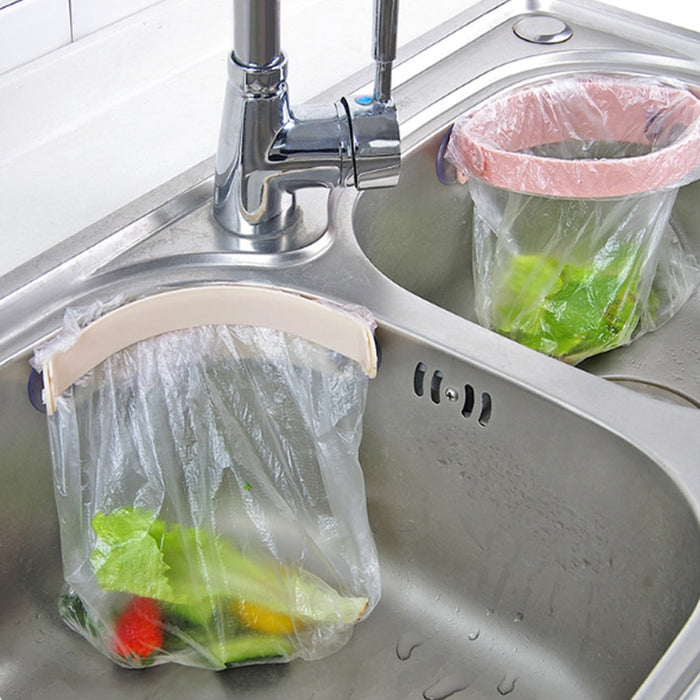 Bathroom & Kitchen Wall Mounted Hanging Trash Rack &  Sink Mini Trash Bag Rack