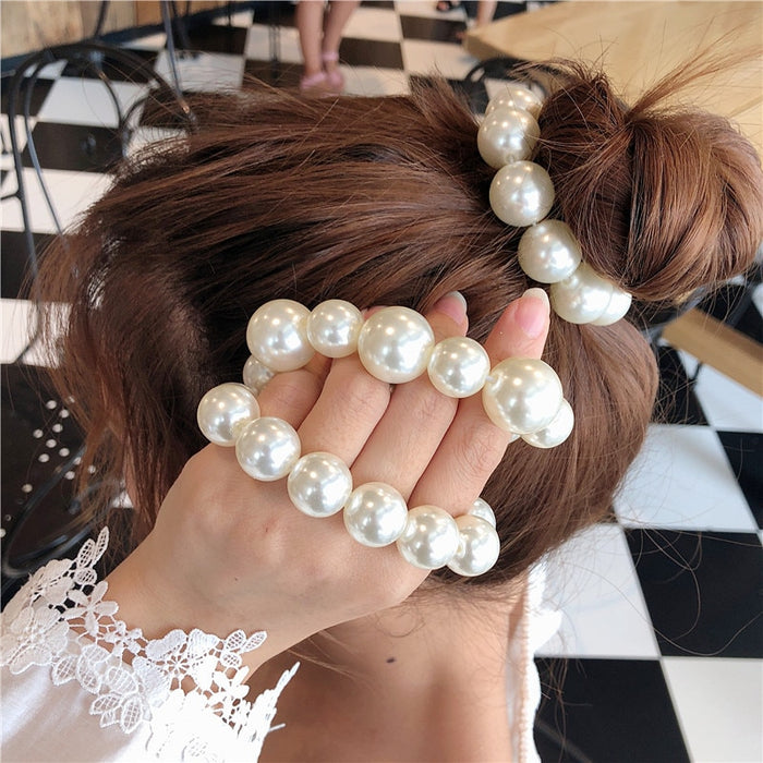 Big Pearl Hair Ties Fashion Korean Style Hairband Scrunchies Girls