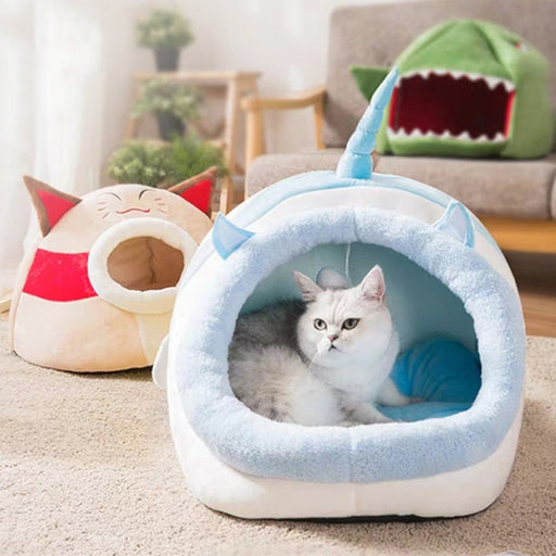 Cat & Dog Bed Indoor Pet Tent Warm Soft Cushion Novelty Huts Cozy House