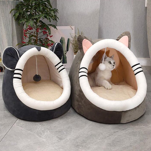 Warm Soft Cat Bed Winter Warm House Cave Pet