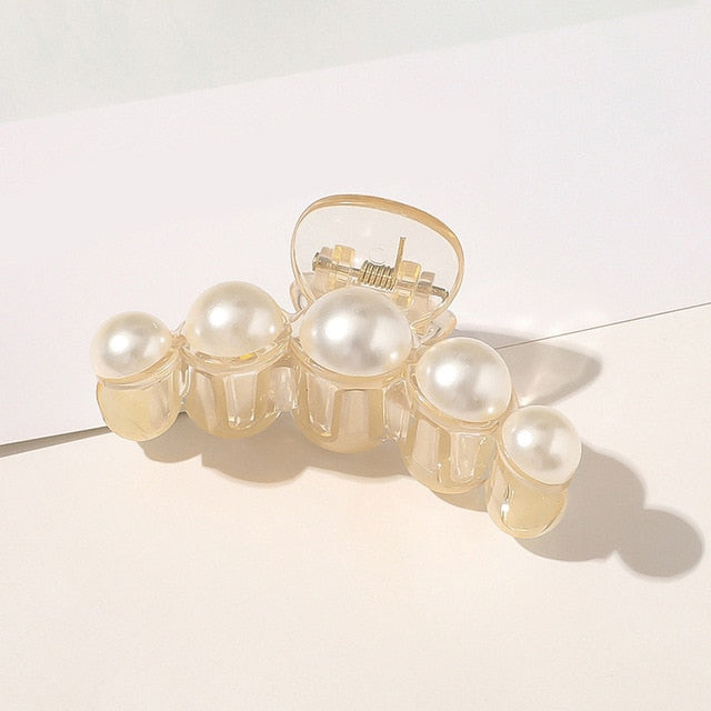 Pearls Beads Hair Claws for Women Elegant Style