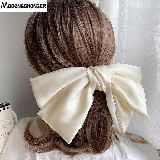 Hairpins For Girl Popular Hair Clip Solid Color Big Bow