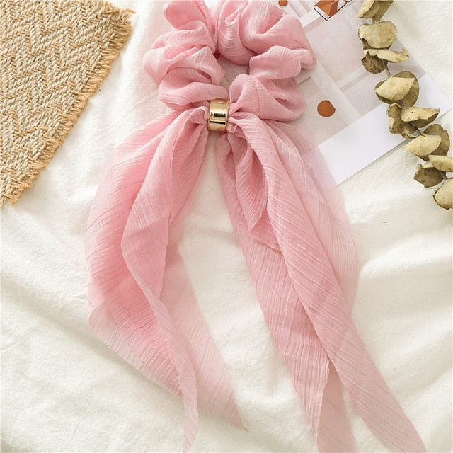 Scrunchies Bows Ponytail Holder Hairband Candy Color New 2021