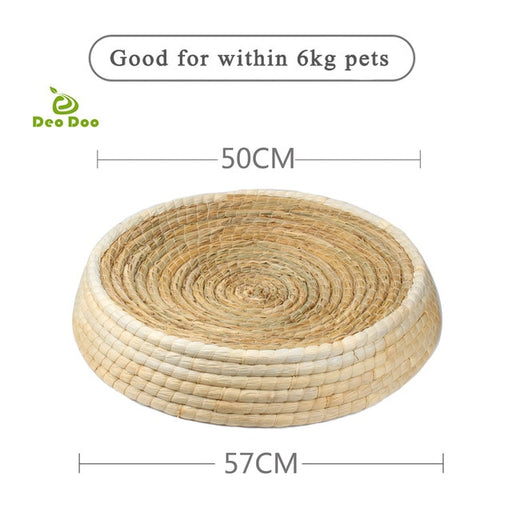 Cat Bed Biodegradable Pet Straw Braided Handmade