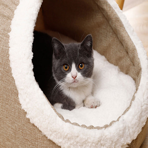 100% Cotton Enclosed Oval Cat Bed Lamb Velvet Nest