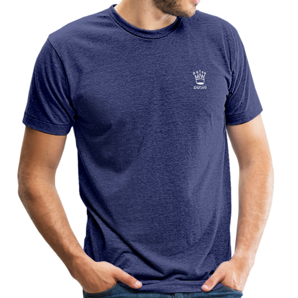 DuskY - Tri-Blend T-Shirt (White Logo) - heather indigo