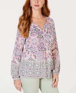 Style & Co. Womens Printed Pintuck Top