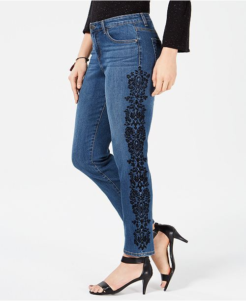 Style & Co Petite Lace-Embellished Skinny Jeans