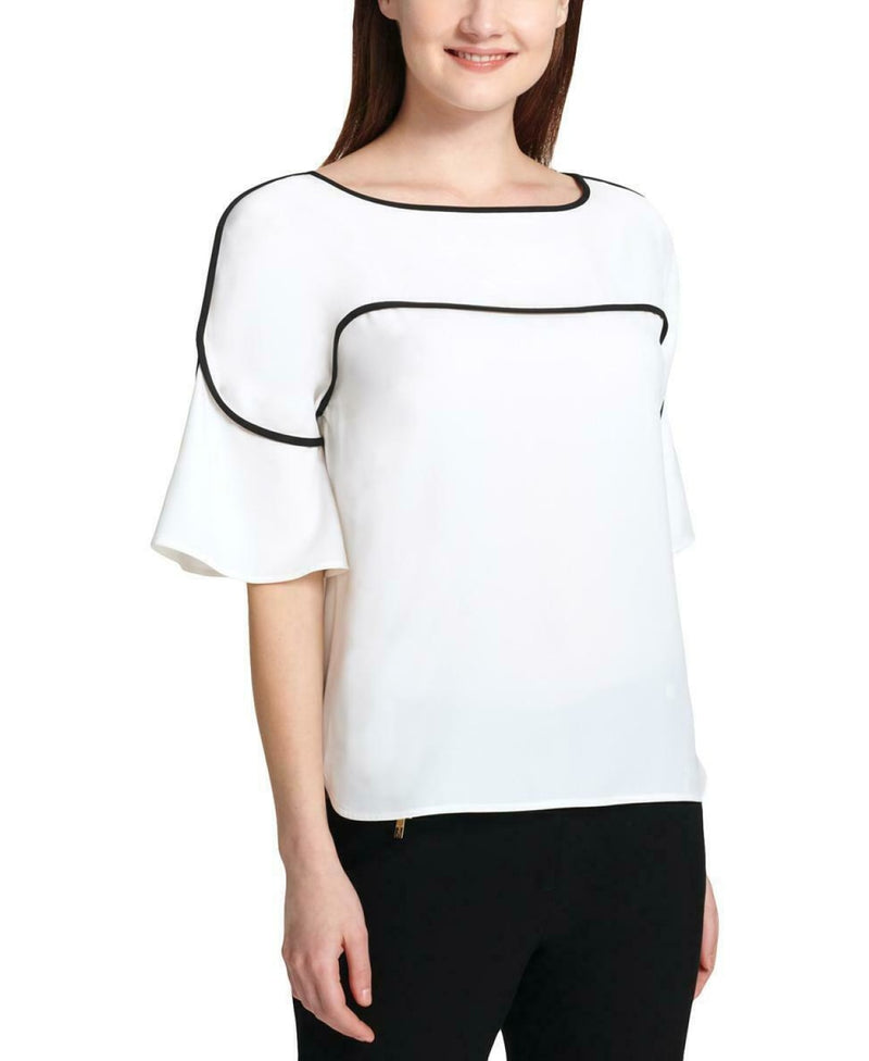 S/S PIPED BLOUSE