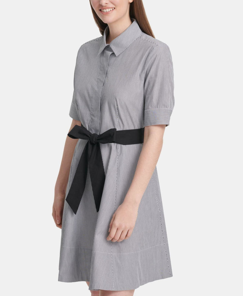 S/S BTN TIE FRNT DRESS