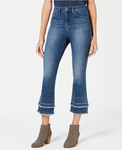 Style & Co Petite Studded & Layered Cropped Jeans