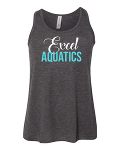 YOUTH Excel Aquatics Flowy Racerback Tank - White/Teal