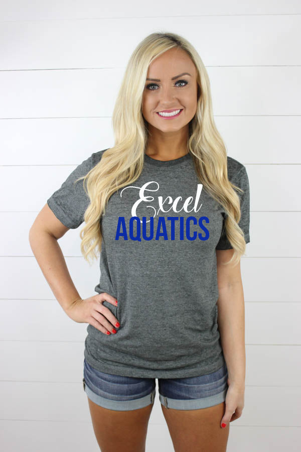 Excel Aquatics Acid Wash Tees - White/Royal