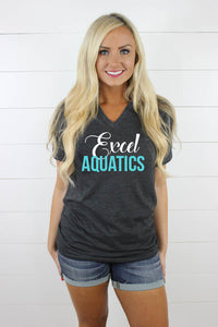 Excel Aquatics V Neck - White/Teal