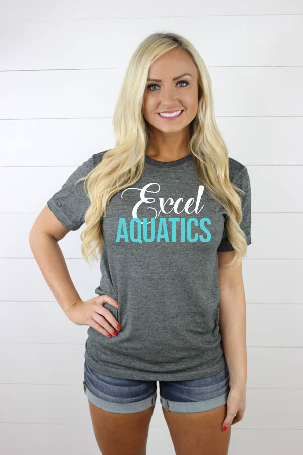 Excel Aquatics Acid Wash Tees - White/Teal