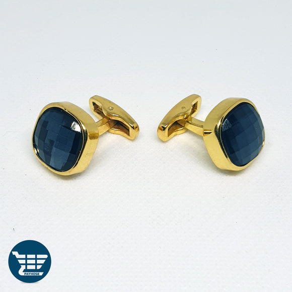 Golden Cufflinks with Black Stone