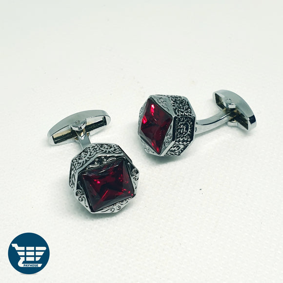 Red Emerald Stone-Base Cufflinks