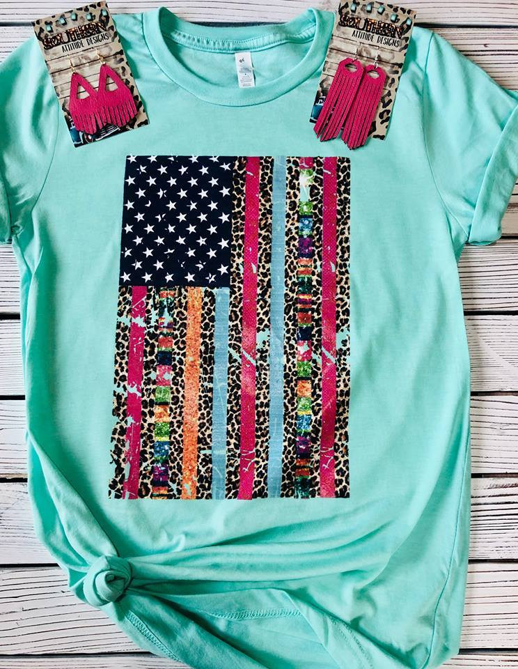 Colorful American Flag Mint T-shirt
