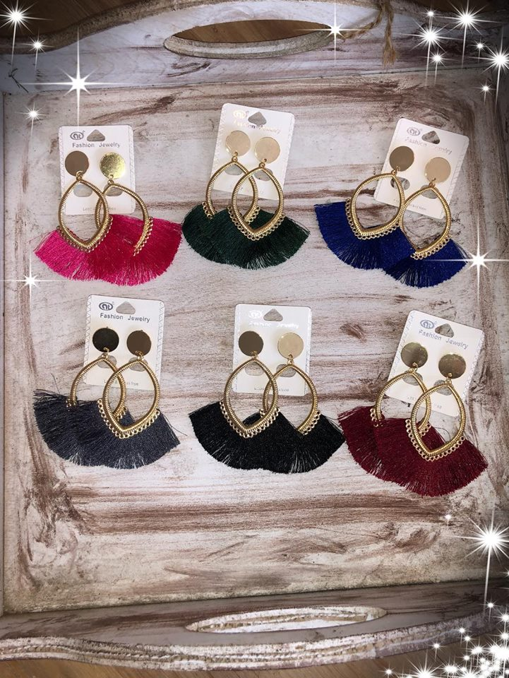 Oval Gold Tassel Earrings, Assorted Colors