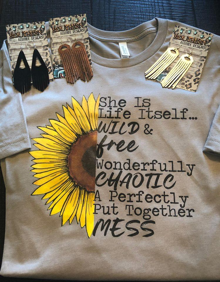 She is Life Itself Sunflower T-shirt