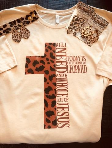 Leopard Cross All I Need Life T-shirt