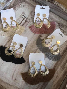 Gold Thick Oval Tassel Earrings, Assorted Colors