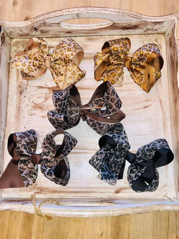 Leopard or Cheetah Print Hairbows