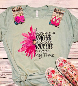 I Became a Teacher Pink Daisy T-shirt