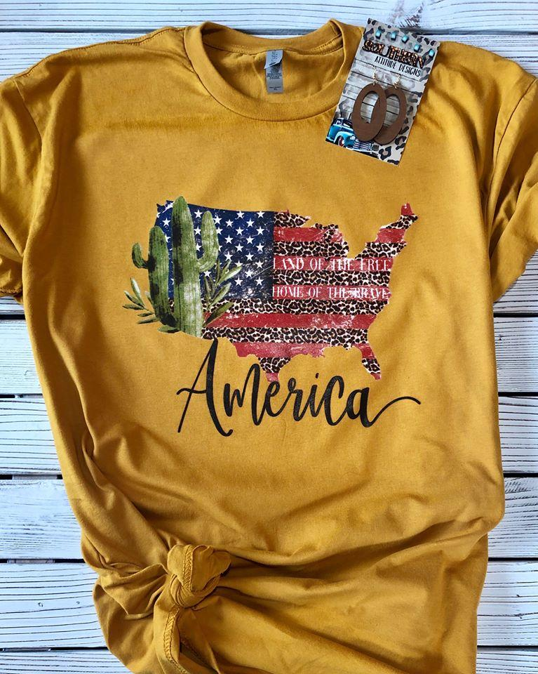 Cactus American Flag Land of the Free T-shirt
