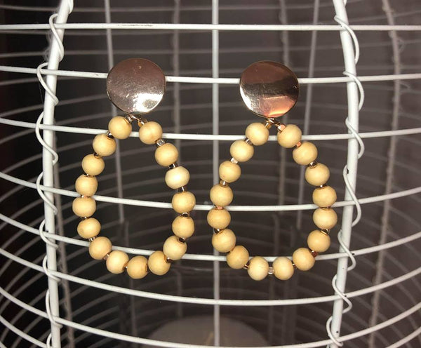 Wood Bead and Disk Earrings