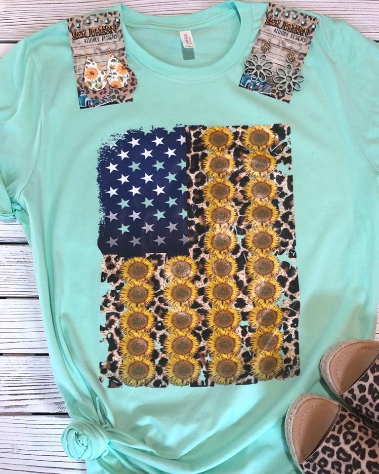 Leopard and Sunflower Flag T-shirt