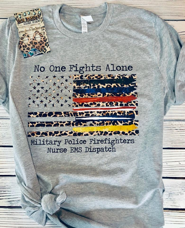 No One Fights Along Leopard Print American Flag T-shirt