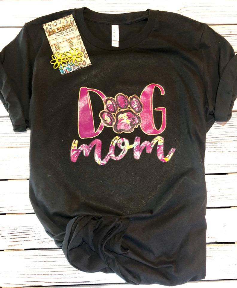 Pink Print Dog Mom T-shirt