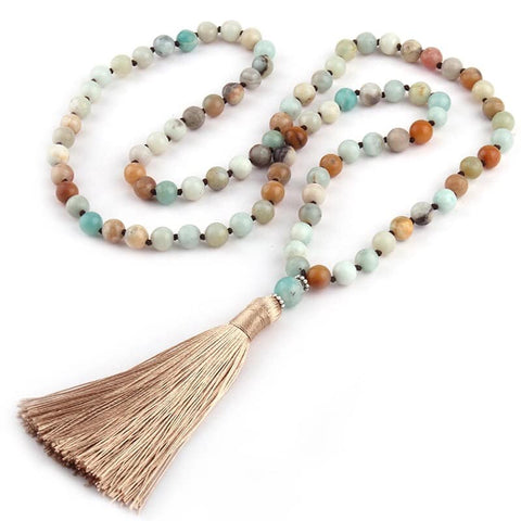 Amazonite Beige Tassel Necklace