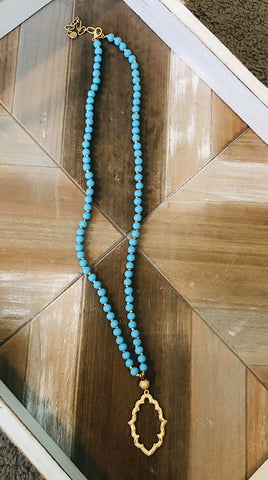 Gold and Teal Beaded Pendant Necklace