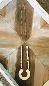 Beige Horseshoe Beaded Necklace