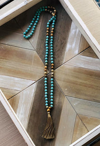 Teal and Tan Wood Bead Tassel Necklace