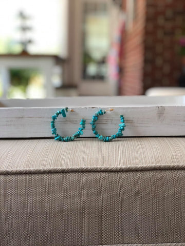 Turquoise Color Stone Hoops