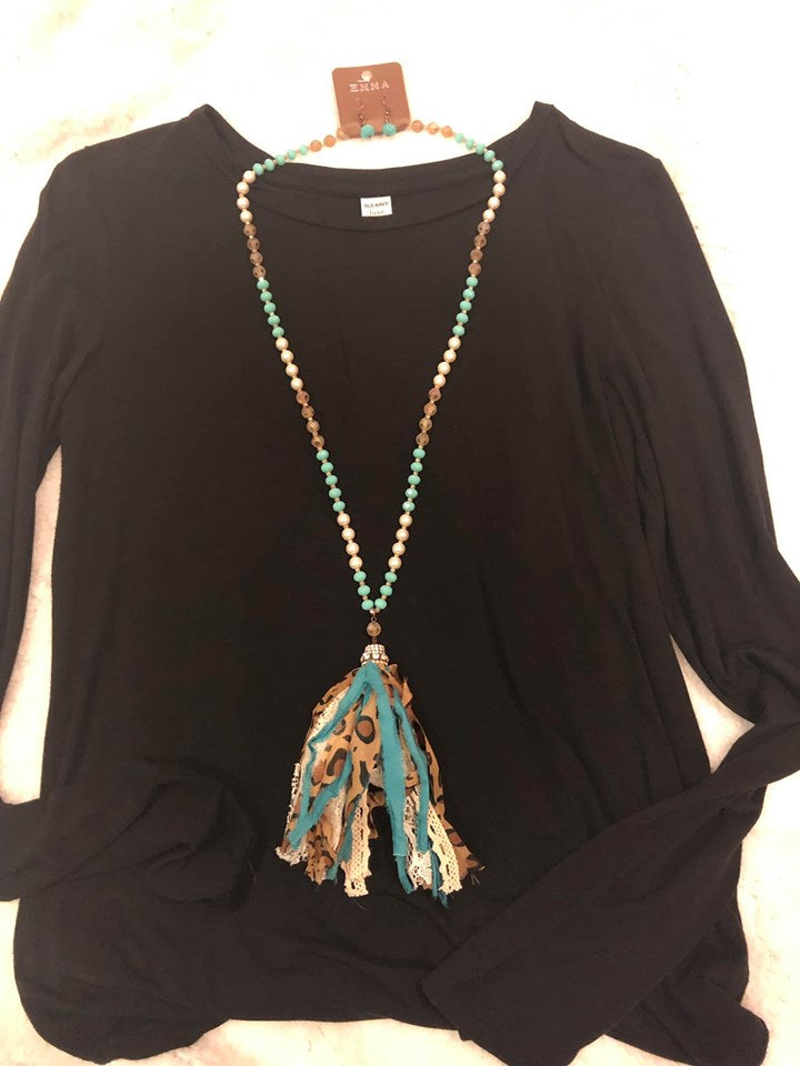 Leopard Print Tassel Necklace, Assorted Colors