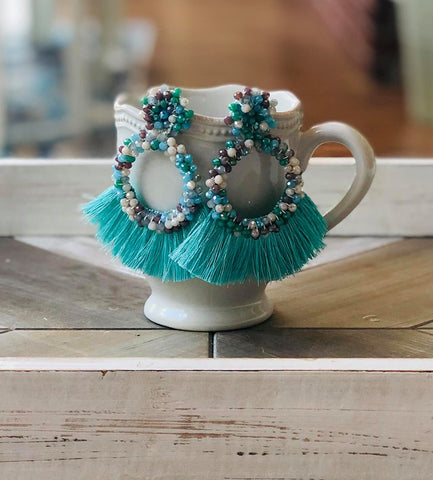 Blue Bead Thread Tassel Round Earrings